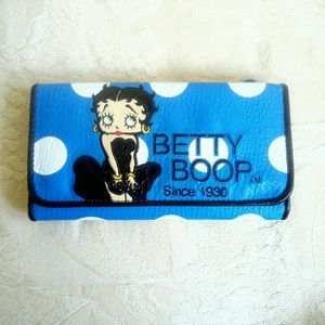 NWOT cutest Betty Boop blue polka dot long wallet